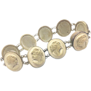 Ninetheenth-Century Victorian Lava Bracelet Consisting of Nine Cameos.
