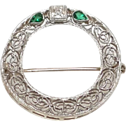 Art Deco 14K White Gold Circle Brooch with a Diamond Flanked by Two Emeralds