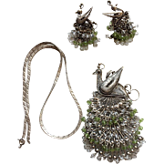 Vintage Sterling Silver Demi-Parure with Filigreed Earrings, Pendant and Chain in the Shape of a Peacock