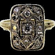 Rectangular 14K White Gold Art Deco Ring with Nine Mine Cut Diamonds