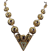French Art Deco Egyptian Revival Gilt Repousse with Amethyst glass and Turquoise Crystals Necklace