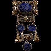 Czech Art Deco Brass Filigree Deep Blue Lapis Pierced and Carved Peking Glass Medallion Drop Brooch Pin