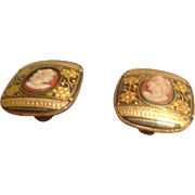 Antique Victorian 9K Yellow Gold Spanish Clip On Earrings