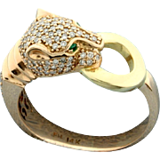14K Rose Gold Ring in the Shape of a Panther with Diamonds and Emeralds