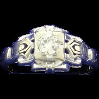 14K White Gold Art Deco Diamond Ring