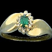 10K Yellow and White Gold Ring with Tsavorite Garnet