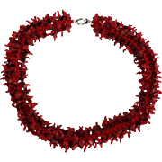 Coral Chips and Faceted Red Beads Hand Made Necklace