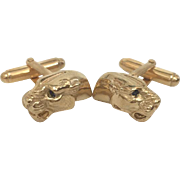 Gold Plated Panther Head Cufflinks with Sapphire Eyes