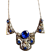 Art Deco Czech Bohemian Blue Glass Necklace