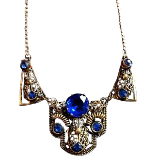Art Deco Czech Bohemian Blue Glass Necklace