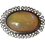 Handmade Filigree Sterling Silver Brooch/Pin with Mexican Opal