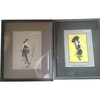 """Antique pair of """"Turkish Trophies"""" Bathing Beauty Lithographs by Hamilton King."""