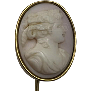 Vintage Gold Tone Angel Skin Coral Cameo Stick Pin