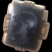 10K Yellow Gold Black Onyx Intaglio Ring