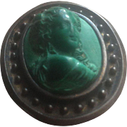 Antique Victorian Malachite Cameo Brooch n Gilt Silver Frame