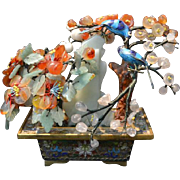 Oriental Precious Stone Tree with Silver Enameled Birds and Cloisonne Container