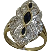 Art Deco 14K Yellow and White Plumb Gold Ring with Topaz and Diamonds