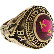 10 karat  Yellow Gold University of Florida 1957 Kappa Alpha Class Ring Unusual Alligator Shank Size 9