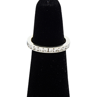 Estate 14K White Gold Approx. 1.16ct Diamond Full Eternity Band Ring Size 6