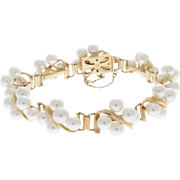 14k 585 Yellow Gold & Cultured Pearl Cluster Bracelet
