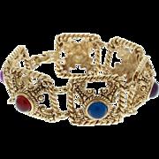 Vintage Signed Givenchy Multi Color Cabochon Pyramid Bracelet