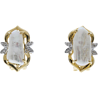 High Quality Designer Vintage Freshwater Pearl & Diamond 14k Yellow Gold Earrings KoaNani Hawaii
