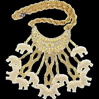 Vintage Lucky White Elephant Drop Dangle Bib Necklace - Conversation Starter!