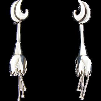 Rare Vintage Antonio Pineda Floral Sterling Silver 925 Earrings Dangle Drop Taxco