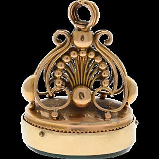 Rare Vintage 18k Gold Continental Music Box Watch Seal Fob circa 1820