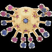Vintage Retro 14 Karat Gold Sapphire Ruby Brooch Pin Planet & Stars Fireworks!