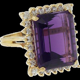 Vintage 14k Plumb Gold Large 15ct Amethyst Diamond Ring Size 6 Emerald Cut