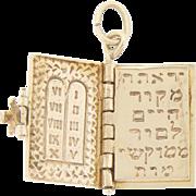 14k Gold Jewish Judaica  Hebrew Prayer Book Charm Pendant Pages Turn!