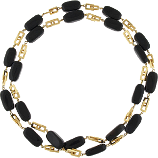 Beautiful Vintage 14k Yellow Gold Onyx Long Flapper Necklace Geometric Modernist Quality!
