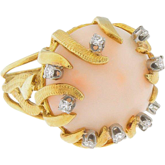 Vintage 18k Gold Diamond Peach Coral Sea Urchin Ring Size 5.25 Large Bold Cocktail Dinner Dress Style.