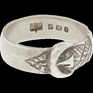 English Edwardian Sterling Silver Buckle Ring By Robert Pringle Birmingham England 1905 Size
