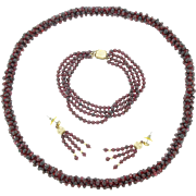 Vintage Red Garnet Bead Rope Necklace Bracelet Earrings Lot Set  14 karat Gold Filled
