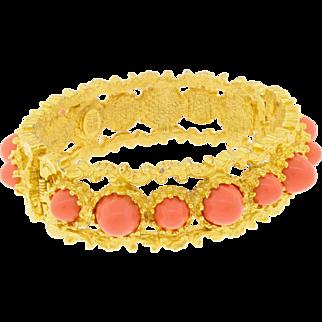 Vintage Pauline Rader Signed Peach Bullet Cabochon Clamper Bracelet