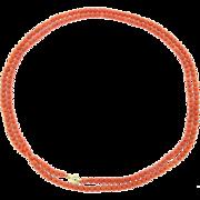 Vintage 14 Karat Gold Long Orange Bead Necklace - Single Strand