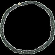 Vintage 14 Karat Yellow Gold Long Jet Black Onyx Bead Necklace 33 Inches