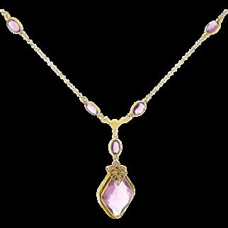 Antique Vintage Art Nouveau Purple Czech Bohemian Glass Necklace