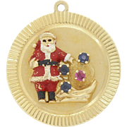 Rare Vintage 14k Yellow Gold Signed HENRY DANKNER Enamel Christmas Holiday Santa Charm