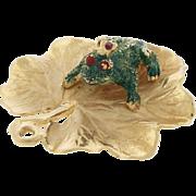 Vintage 14k Gold Signed Henry Dankner Frog Prince Lily Pad Charm For Bracelet