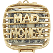Old 14k Gold Mad Money Charm Suitcase Purse 1962 Bracelet or Pendant