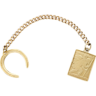 Rare Cartier 14k Gold St Christopher & Horse Shoe Charms Pendant Watch Fob