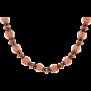 Beautiful Vintage Venetian Murano Glass Bead Necklace Dusky Pink & Gold