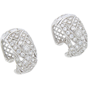 Vintage 14Karat White Gold Diamond 2.62ct Huggie Hoop Earrings Pierced SPARKLE! Signed