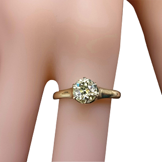 Antique Victorian Old Mine Cut Yellow Diamond 14k Gold Engagement Ring 0.94 Cts Size 6.5