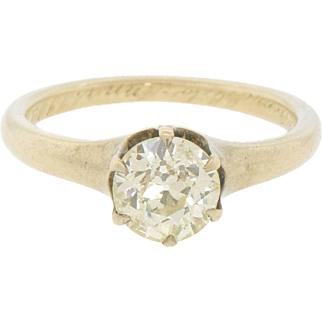 Antique Old Mine Cut Yellow Diamond 14k Gold Solitaire Engagement Ring 0.94 Cts Size 6.5