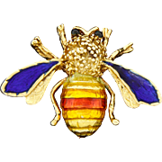 Vintage Van Cleef & Arpels 18k Yellow Gold Enamel Bug Bee Insect Pin Brooch Bee My Honey?!