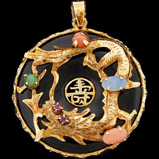 Vintage 585 14K Gold Oynx Chinese Dragon Pendant Beautiful!
